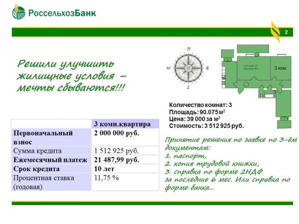 Ипотека в Россельхозбанке условия процентная ставка калькулятор  Расчет ипотеки на улучшение жилищных условий