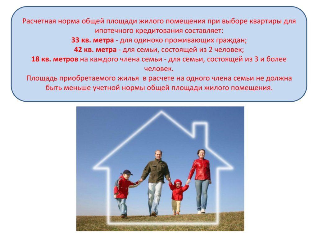 Какая должна быть площадь квартиры, чтобы получить льготный кредит
