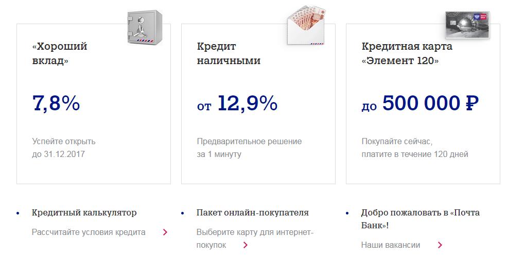 Какие продукты оформляет Почта Банк