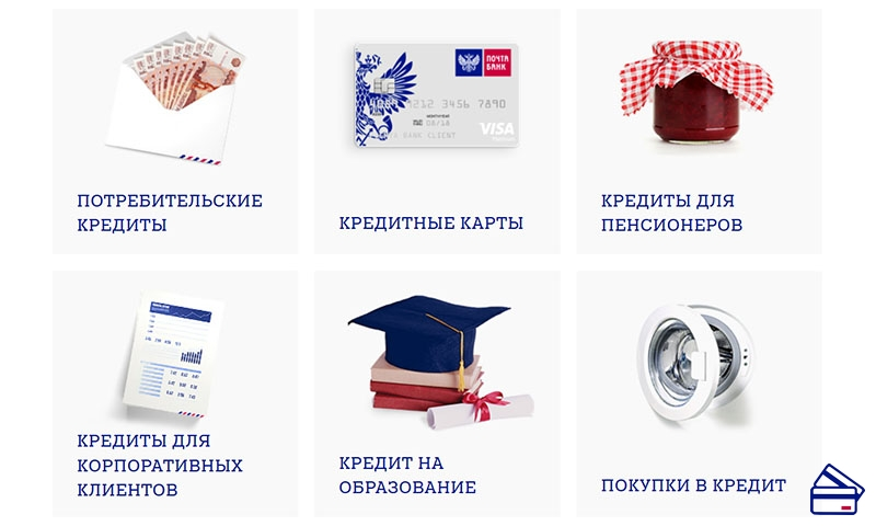Какие кредиты можно оформить в Почта банке
